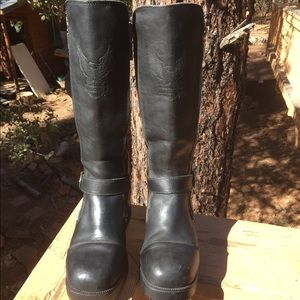 Harley Davidson Black Leather Motorcycle Boots